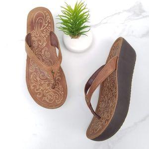 OluKai Paniolo Wedge Sandals Flip Flop Brown Thong